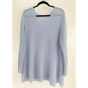 EILEEN FISHER Organic Linen Sweater XL V Neck